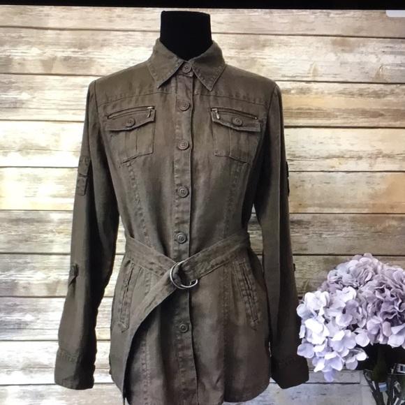 59505bebf CAbi Utility Sahara Jacket Linen Khaki #856 Size M